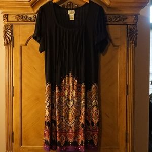 ICE black short sleeve dress print hem 20W